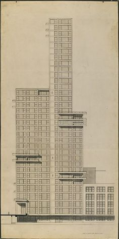 "Walter Gropius and Adolf Meyer: Competition Entry for ""Chicago Tribune"" Tower (1922). Sketch, profile."