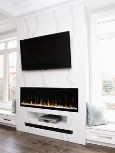Dimplex 50 Linear Built-In Electric Fireplace with Multi-Function Remote Black Fireplace Built-In Electric Fireplace Feature Wall, Tv Above Fireplace, Linear Fireplace, Fireplace Built Ins, Black Fireplace, Home Fireplace, Fireplace Remodel, Living Room With Fireplace, Fireplace Design