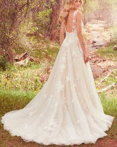 Featuring polka dot netting and an ultra-flattering silhouette, this lace number offers a chic update to the sleeveless ball gown wedding dress. Vintage Inspired Wedding Dresses, Elegant Wedding Gowns, 2015 Wedding Dresses, Designer Wedding Dresses, Bridal Dresses, Gown Wedding, Lace Wedding, Ethereal Wedding Dress, Wedding Skirt