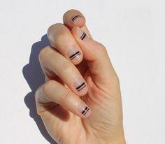 Fabulous Nails, Perfect Nails, Trendy Nails, Cute Nails, Mens Nails, Line Nail Art, Transparent Nails, Lines On Nails, Striped Nails