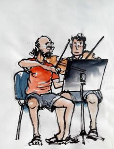 músicos emma | tutoperduto | Flickr Painting People, Drawing People, Figure Painting, Figure Drawing, Pen And Watercolor, Watercolor Paintings, Watercolours, Ink Pen Drawings, Drawing Sketches