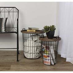 Make items easily accessible when you store them in these Tenby nesting accent tables. Both tables feature removable wood tops that hold frequently used items, and both have room for storage in their