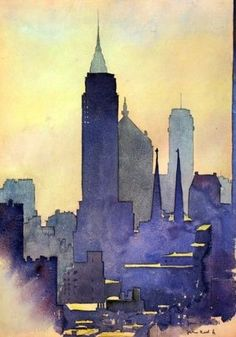 International Illustrations - Empire State Of Mind by John Held Jr. Watercolor City, Watercolor Landscape, Watercolor And Ink, Watercolor Paintings, Watercolors, Portrait Paintings, Acrylic Paintings, Water Color Painting Landscape, Water Colour Painting Ideas