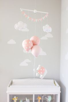 PInk Elephant Baby Mobile, Girls Nursery Decor, Pink and Grey Balloon Mobile, Travel Theme Nursery Decor, i34