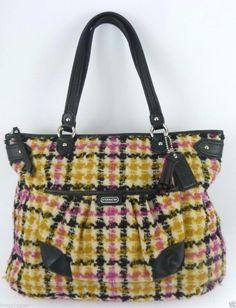 COACH Daisy Wool Tweed Plaid Emma Tote #25083 Bag Purse Multi-Color ~ LN! #Coach #TotesShoppers