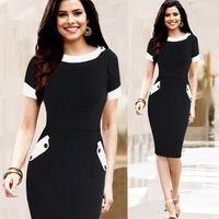 Mujer vestido de bloque botones bolsillo vestido de verano color del vestido…
