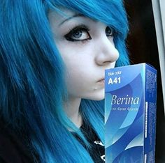 1 Pack Berina Blue Hair Dye A41 Hair Color Cream Dye Blue 60 G Super Permanent Fashion Unisex containing an innovative component which protects and provides glamor color to hair as desired