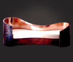 Copper Curved Sofa from Taylor Llorente Mod Furniture, Design Furniture, Unique Furniture, Contemporary Furniture, Chaise Chair, Chair Bench, Copper Art, Copper Rose, Furniture
