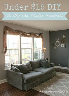 Learn how to make a DIY Country Chic Window Treatment for under $15. Burlap window treatment. Burlap valance. Burlap curtain.
