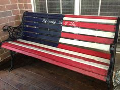 "Patriotic rustic American flag wood bench! ""My country 'tis of Thee"""