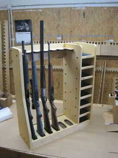 Quality rotary gun racks used to store rifles, rifles with scopes and shot guns on a rotating gun rack for easy access. Quality pistol racks include single level pistol racks and double level pistol racks for the sportsman, gun collector and dealer Diy Wood Projects, Woodworking Projects, Woodworking Shop, Woodworking Equipment, Woodworking Basics, Woodworking Workbench, Woodworking Supplies, Gun Safe Room, Gun Closet