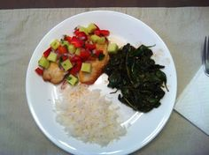Dairy Free Tilapia with Mango Salsa served with Balsamic Spinach and Steamed Jasmine Rice.