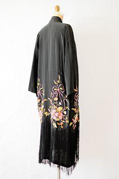 vintage 1920s black silk fringe embroidered robe