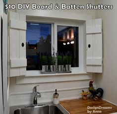 Indoor Shutters, functioning, made from planks for under $10 and ...