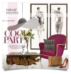 """""""1930's chair and the hat lamp..."""" by gloriettequartet ❤ liked on Polyvore featuring interior, interiors, interior design, home, home decor, interior decorating, Niche Modern, Trina Turk LA, Chanel and Christian Louboutin"""