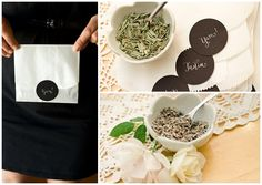 Party favor, guests make their own custom tea blend to take home.