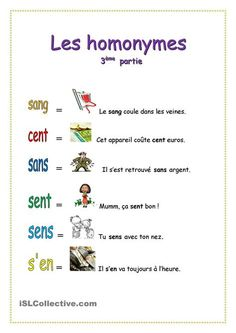 Homonymes - 3è partie Basic French Words, How To Speak French, Learn French, French Language Lessons, French Language Learning, French Lessons, French Verbs, French Grammar, French Teacher