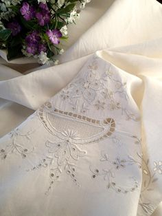 """Vintage Bridal MADEIRA Lace Heavily Embroidered LINEN Sheet 96"""" x 69""""  Vintageblessings"""