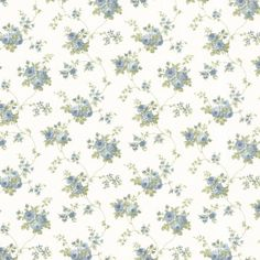 Drury Blue Blooming Floral Trail - Wallpaper