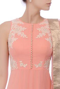 Ivory Button Down Cotton Kurta by Ekadi Salwar Neck Designs, Churidar Designs, Kurta Neck Design, Neck Designs For Suits, Kurta Designs Women, Dress Neck Designs, Blouse Designs, Pakistani Dress Design, Pakistani Dresses