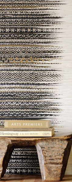 VULCANO wallpaper from Elitis. An embossed, wide, multicoloured raffia grasscloth, with an artisan naturalness. --could use an Aztec roller Safari Chic, Wallpaper Uk, Striped Wallpaper, Weaving Textiles, Weaving Patterns, Textures Patterns, Print Patterns, African Interior, Wall Treatments