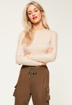 Missguided - Nude Ribbed Cross Back Crop Top Missguided 5cdb8323ca