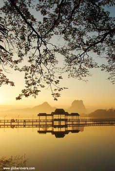 Sunrise at Kan-Thar-Yar Lake, Hpa-An, MYANMAR