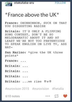 Hetalia Eurovision 2015 - France and England xD I really enjoyed watching Eurovision this year XD