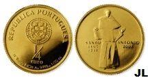 Moedas de Euro emitidas por Portugal: Santo António de Lisboa (Ouro FDC)  Valor € 1/4
