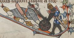 Riese mit Buckler, BL Additional 24686 The Alphonso Psalter, fol. 17r, 1284-1316, England.