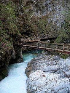 River at Triglav National Park, Slovenia #awesome #water #bridge #mountain