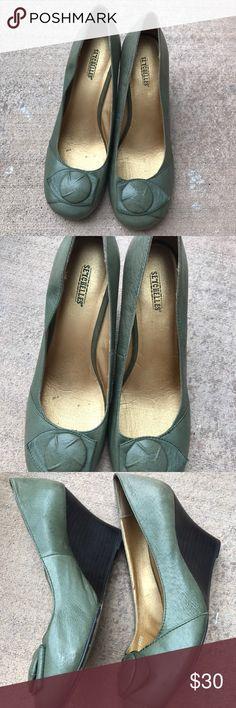 Seychelles 3.5 in Platform olive green Seychelles Shoes Platforms