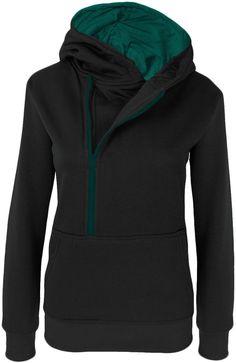 DANAEST Damen Hoodie Kapuzenpullover mit Bauchtasche Nr. (299), Farbe:Schwarz;Herren:XXX-Large