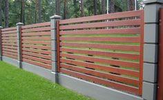 Kinda similar to what I was imagining. House Fence Design, Fence Gate Design, Modern Fence Design, Privacy Fence Designs, Brick Fence, Front Yard Fence, Wooden Fence, Boundary Walls, Backyard Fences
