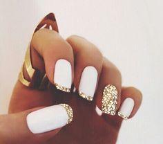 золото, люблюэто, ногти, приятное, уникальное, белый