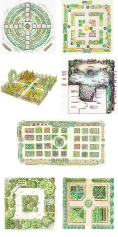 "Kitchen garden designs - my favorites are the ""Kitchen Garden Design,"" the ""Kitchen Gardening Tips,"" ""Year Round Garden Design"" (at least I think so; I didn't know all the formal names listed), and the ""Eye Catching Kitchen Garden Plan."" I might like the ""Five Year Garden Plan,"" but I can't really read it well."