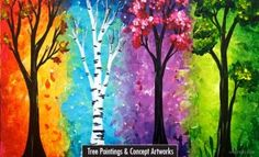 Paint Nite: Discover a new night out and paint and sip wine with friends Colorful Paintings, Beautiful Paintings, Tree Paintings, Canvas Paintings, Pintura Graffiti, Tree Of Life Painting, Tree Painting Easy, Acrylic Painting Trees, Paint Party