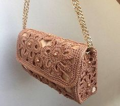 Women Crochet Shoulder Bag    Macrame Cordon Beige Color