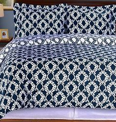 Modern Moroccan style Navy Blue and White Medallion Pattern 100-percent Egyptian Cotton Bedding Duvet Cover Set  #navy blue and white comforter  #navy blue and white quilt cover