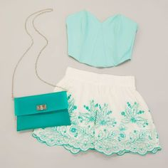 mint Polyvore Clothes Outift for • teens • movies • girls • women •. summer • fall • spring • winter • outfit ideas • dates • parties #shorts crop top #teenage fashion love the colours!