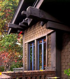 Texture comes from the unusual, spaced placement of shingles on an Asian-inspired Craftsman house. Photo by Douglas Keister.