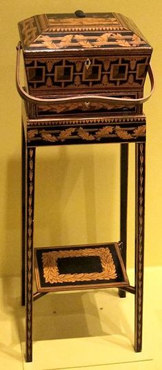 File:English sewing box on stand, late 18th-early 19th century, penwork on wood, HAA.JPG