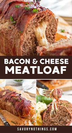 This homemade Mozzarella Stuffed Bacon Wrapped Meatloaf is stuffed with melty cheese and wrapped in plenty of bacon for an easy comforting family dinner. The recipe is cooked without ketchup and smothered in a BBQ sauce glaze instead. The classic meatloaf base is made with ground beef, eggs and with breadcrumbs. Served with your favorite sides and a simple gravy, the cheesy middle of this meatloaf is the best! Adapted from The Pioneer Woman. | #recipe #bacon #dinner #cheese Cheese Stuffed Meatloaf, Bacon Wrapped Meatloaf, Easy Gravy, Meatloaf Recipes, Pioneer Woman, Bread Crumbs, Ketchup, Ground Beef, Mozzarella