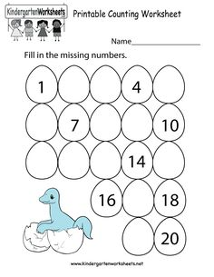 Cute dinosaur fill in the missing numbers worksheet to download, print, or use online. Enjoy!