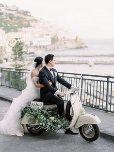 Italy wedding in the Amalfi coast - vintage Vespa Vespa Wedding, Motorcycle Wedding, Wedding Cars, Elope Wedding, Summer Wedding, Wedding Venues, Dream Wedding, Amalfi Coast Wedding, European Wedding
