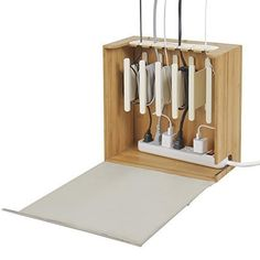 Cord Corral and Cable Organizer with Power Strip - Zen Collection, Beige