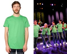 New Directions wear @AmericanApparel t-shirts in 'Child Star' on #Glee:   The New Directions so often stick to their tried-and-tested red, black, or blue group costumes, we were almost surprised to see them don green for 'Cool Kids'. In fact, if memory serves us correctly, this is the first time in all six seasons they've worn green for a group number.American Apparel Unisex Fine JerseyShort Sleeve T-Shirt - American ApparelFine JerseyShort Sleeve Women's T