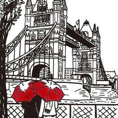 London Love gocco art print by ArtSharkDesigns on Etsy