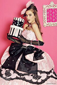 Barbie pink dress black lace