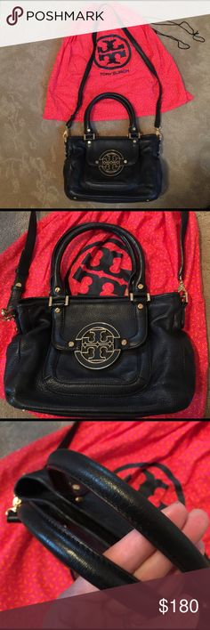 ✨👛 💯 authentic leather Tory burch 👛✨ 💯% authentic!! All black genuine soft leather 😍 with gold hardware & logo on front flap! Comes with shoulder strap or can be used as cross body 👌🏼💓 .. also can remove strap and just use handles! 😍.. Excellent CONDITION... inside gold metal logo still has plastic on it!😍❤ this bag is great for dress up or an everyday look✨❤😍 comes with original dust bag❣️ Tory Burch Bags Crossbody Bags